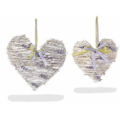 Rattan Hearts Set 2 Pieces with Lavender Flowers