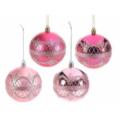Pink Christmas Balls with Glitter Set 24pcs