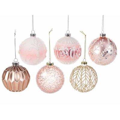 Pink Glass Christmas Balls with Glitter Set 12pcs