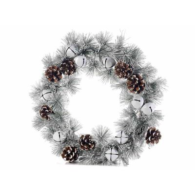 Christmas Wreath with Pine Cones, Balls and Bells