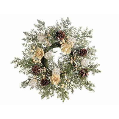 Christmas wreath with berries, pine cones and flowers