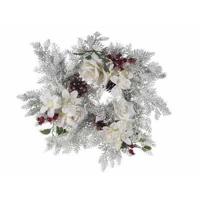 Snow Covered Christmas Wreath with Berries and White Flowers