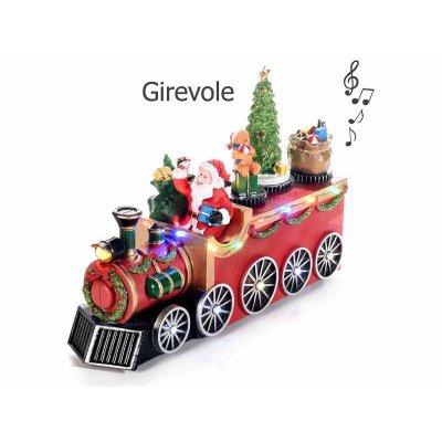 Babbo Natale in Treno con Luci Multicolore e Musica