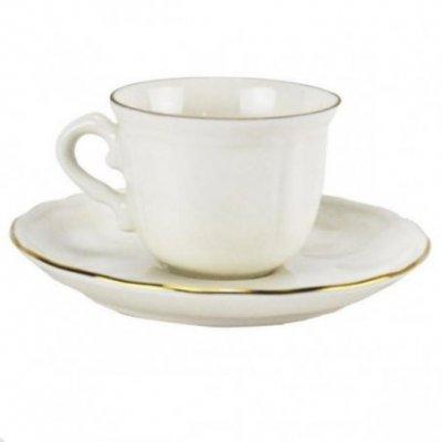Set 6 Pz Tazzine Caffè e Piattino - porcellana  con Bordo Oro  cl10