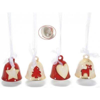 Set 8 Pz Campanelle Natalizie in Ceramica Rosse e Bianche