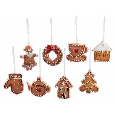 Gingerbread Hanging Decorations - 16 Pieces