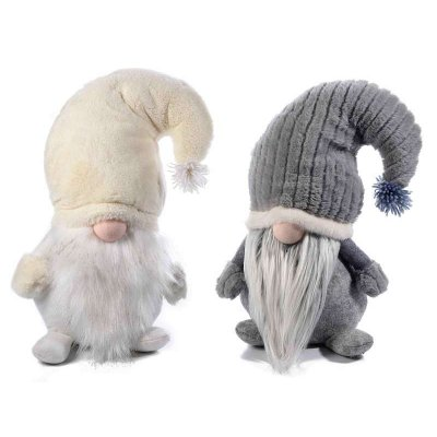 Gnomes - Christmas Decoration - Set 2 Pcs White and Gray with Velvety Hat