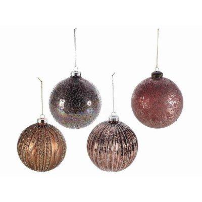 Decorated Colored Glass Christmas Balls Set 12 Pcs