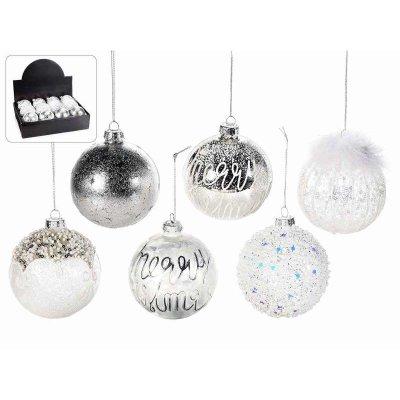 Palline di Natale in Vetro Decorato Bianco e Argento Set 12Pz