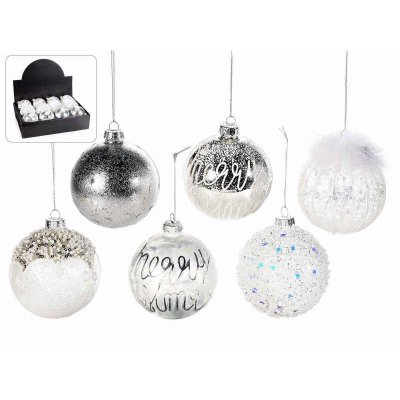 White and Silver Decorated Glass Christmas Balls Set 12Pz