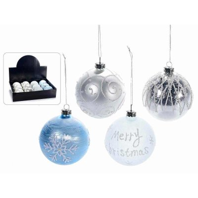 Christmas Balls in Decorated Glass and Silver and Blue Glitter - Set 12 Pcs