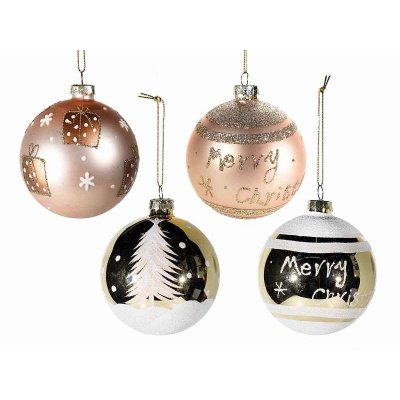 Christmas Balls in Decorated Glass and Gold Glitter - Set 12 Pcs