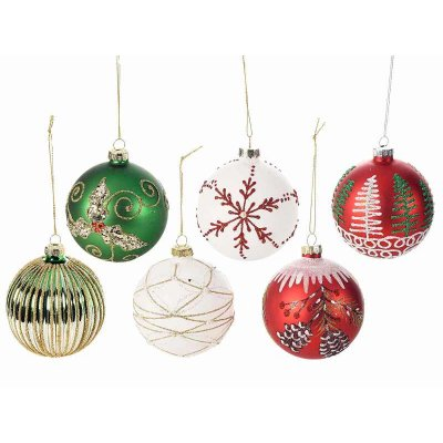 Set 12 Pcs - Decorated Glass Christmas Balls Assorted Colors Red, Green and White
