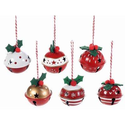 Campanelle di Natale in stile Vintage in Metallo Colore Rosso - Set 12 Pz