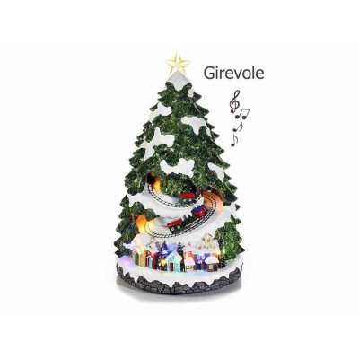 Resin Christmas Tree with Lights, Music and Moving Train