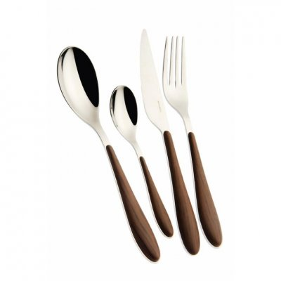 Gioia Casa Bugatti Cutlery Set 24 Pcs - Mahogany Wood Effect