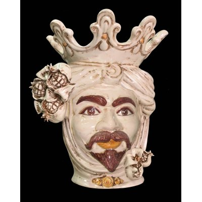 Testa di Moro Man Ivory with White Pomegranates h 40 - Caltagirone Ceramics