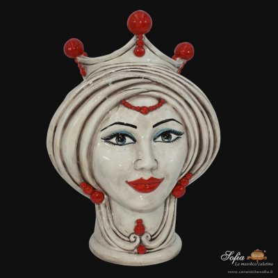 Moor's Head Woman Mother of Pearl Antique with Red Beads and Expression h.30 - Caltagirone Ceramics