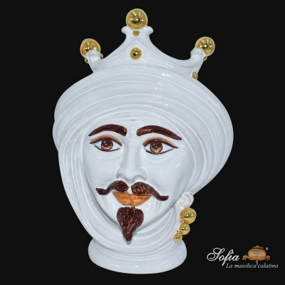 Male Moor's Head White and Gold with Expression h 30 - Caltagirone Ceramics