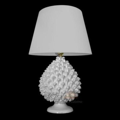 Lamp with White Pine Cone - Caltagirone Ceramics