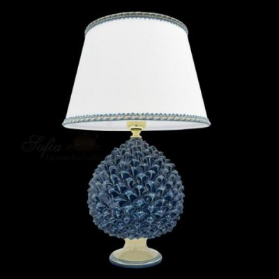 Lamp with Blue and Ivory Pine Cone - Caltagirone Ceramics