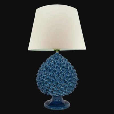 Lamp with Blue Pine Cone - Caltagirone Ceramics