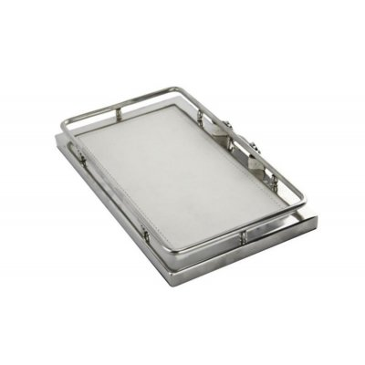 Royal Family - White Leather valet tray 27 x 16 - 1