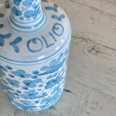 Deruta Ceramic Oil Cruet - 0,75L 25cm Turquoise Arabesque - 2