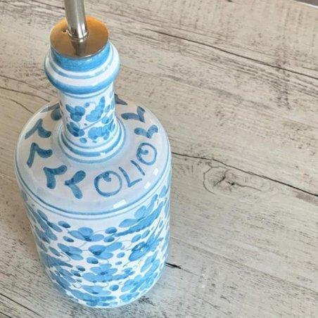 Deruta Ceramic Oil Cruet - 0,75L 25cm Turquoise Arabesque - 3