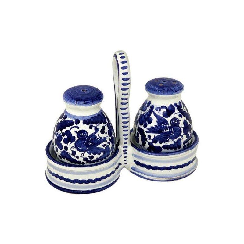 Sale-pepe in Ceramica Deruta -  15x13x6cm decoro Arabesco Blu