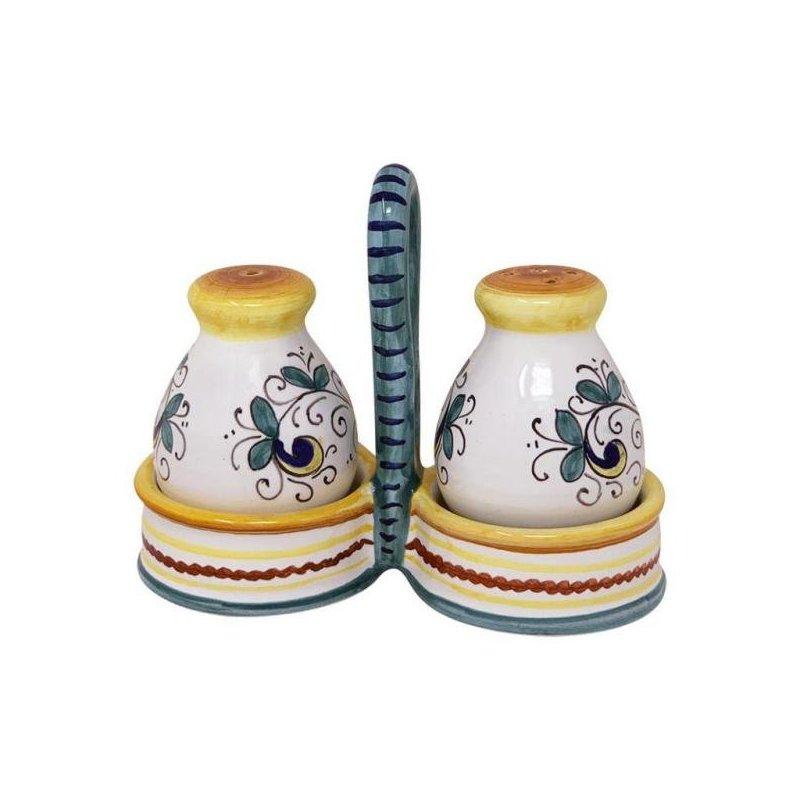 Sale-pepe in Ceramica Deruta -  15x13x6cm decoro Ricco Deruta