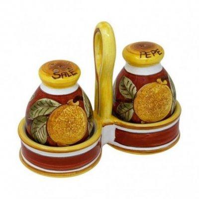 Sale-pepe in Ceramica Deruta -  15x13x6cm decoro Positano Rosso