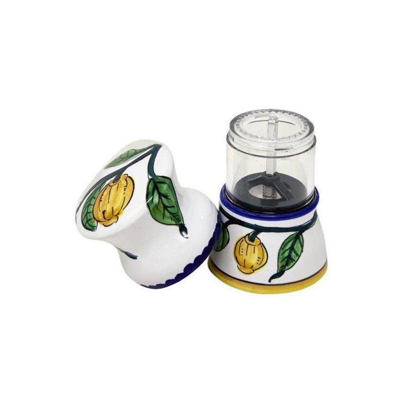 Macina pepe  in Ceramica Deruta - decoro Limoni Semplici