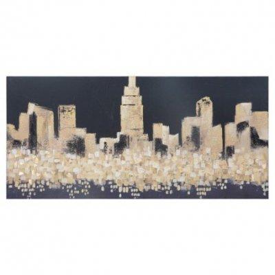 Dipinto Su Tela Dorato City Cm 150X3