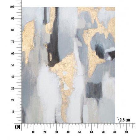 Dipinto Su Tela Grigio/Oro  Cm 80X2,8X100 - 6 -