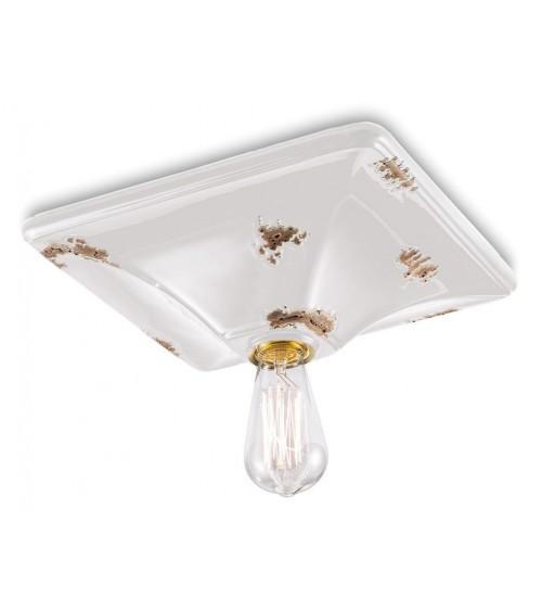 Vintage Rectangular Base Ceramic Ceiling Lamp Retrò Collection White  - Ferroluce