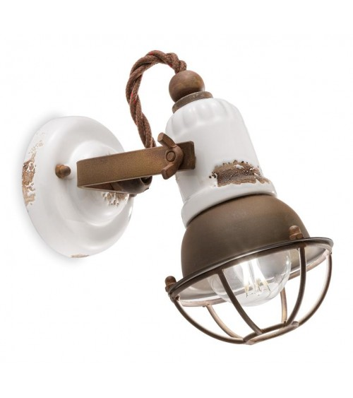 Ferroluce: 1 Light Wall Lamp With Cage Retrò Collection