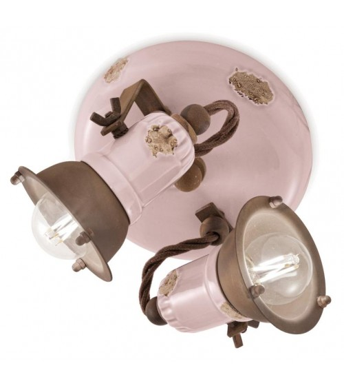 Ferroluce: Ceiling Lamp 2 Lights Loft Retrò Collection