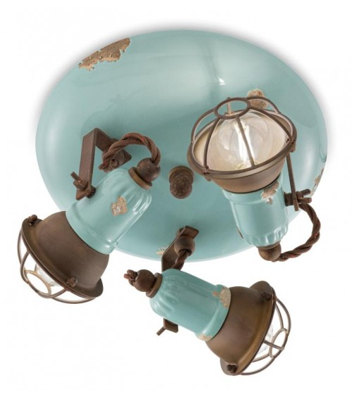 Ferroluce: Ceiling Lamp 3 Lights with Loft Cage Retrò Collection