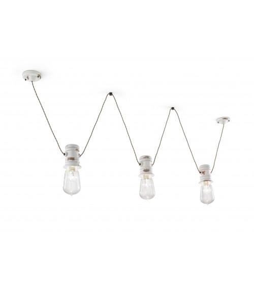 Ferroluce: Suspension Lamp with 3 Lights Urban Retrò Collection