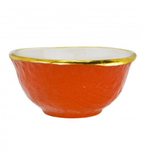 Coppetta Macedonia in Ceramica - Set 6 pz - Preta Oro - Arcucci Arancio