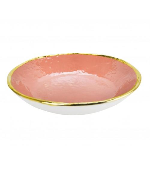 Piatto Fondo in Ceramica - Set 6 pz - Preta Oro - Arcucci Rosa