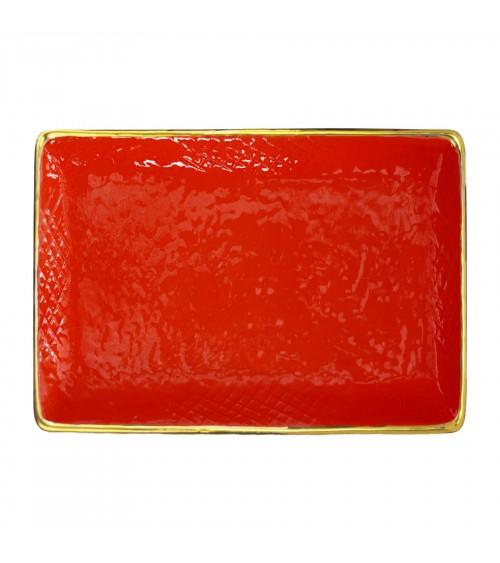Vassoio Rettangolare in Ceramica - Preta Oro - Arcucci Rosso