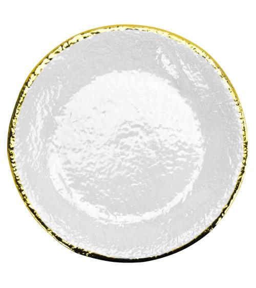 Vassoio Tondo in Ceramica - Preta Oro - Arcucci Bianco