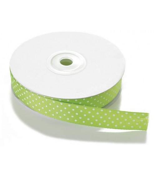 Nastro a Pois in tessuto per Bomboniere fai da te o Pacchi Regalo Verde