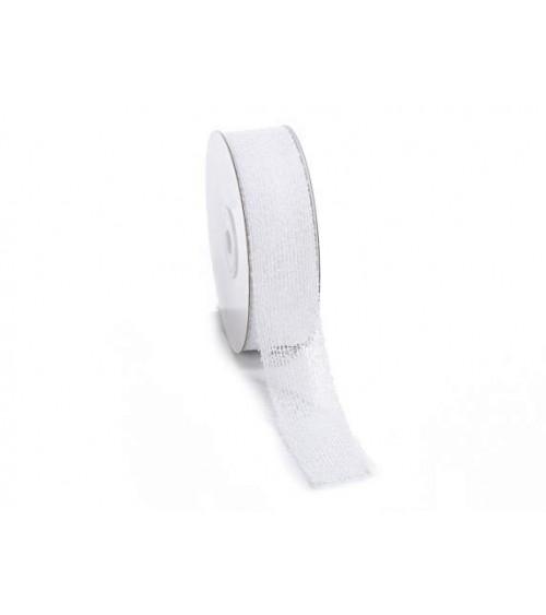 Ruban en tissu maille effet gaze blanche pour cadeaux de bricolage ou emballages cadeaux 25 mm x 10 m