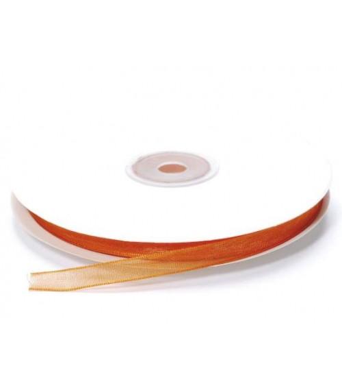 Nastro in Organza 7 mm x 50 mt per Bomboniere fai da te o Pacchi Regalo Arancio