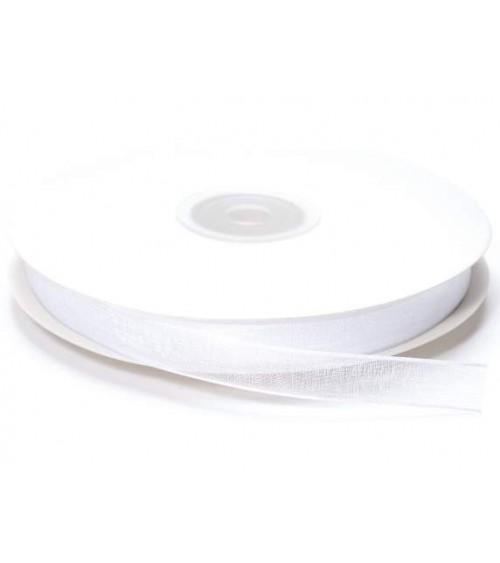 Nastro in Organza 10 mm x 50 mt per Bomboniere fai da te o Pacchi Regalo Bianco