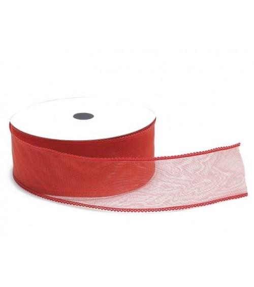 Ruban tubulaire en organza rouge pour les cadeaux de bricolage ou les coffrets cadeaux