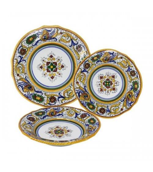 Scalloped Raphaelesque Dinner Set For 4 People - Deruta Ceramics